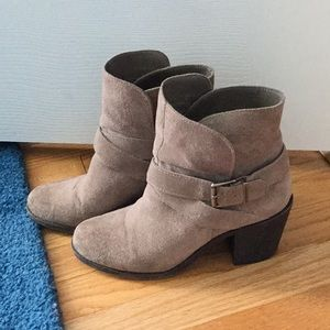 BCBG Tan Suede Heeled booties